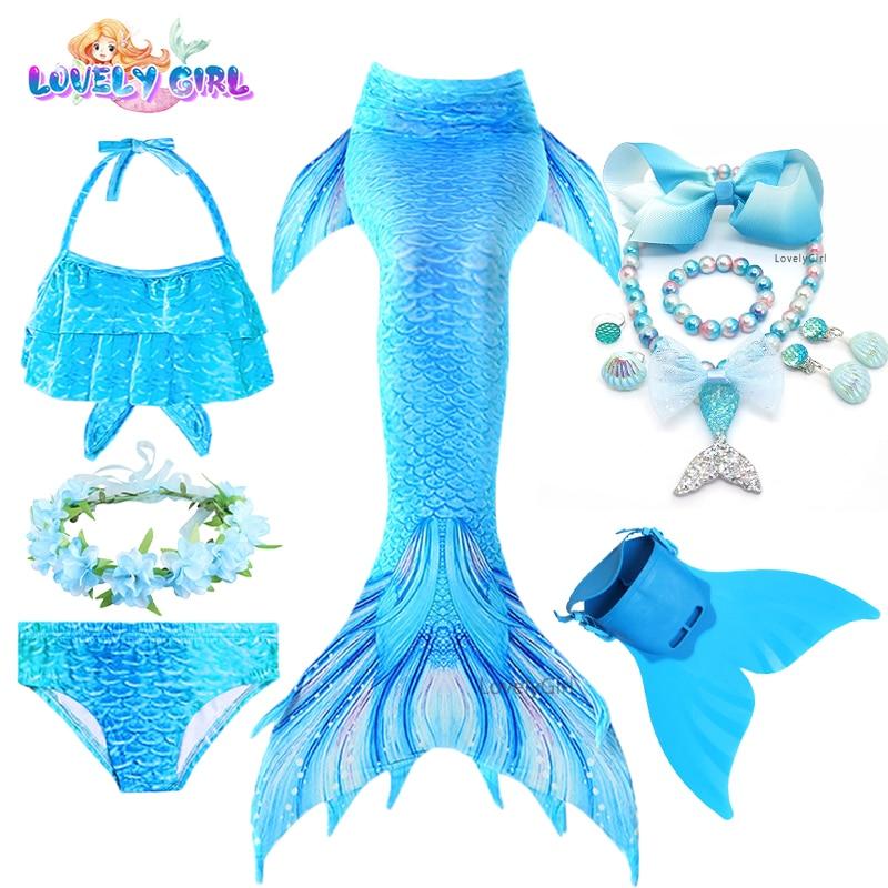 LovelyGirl Mermaid Tails with Monofin Mermaid Costume Children Cosplay Girl Little Mermaid Dress Gir