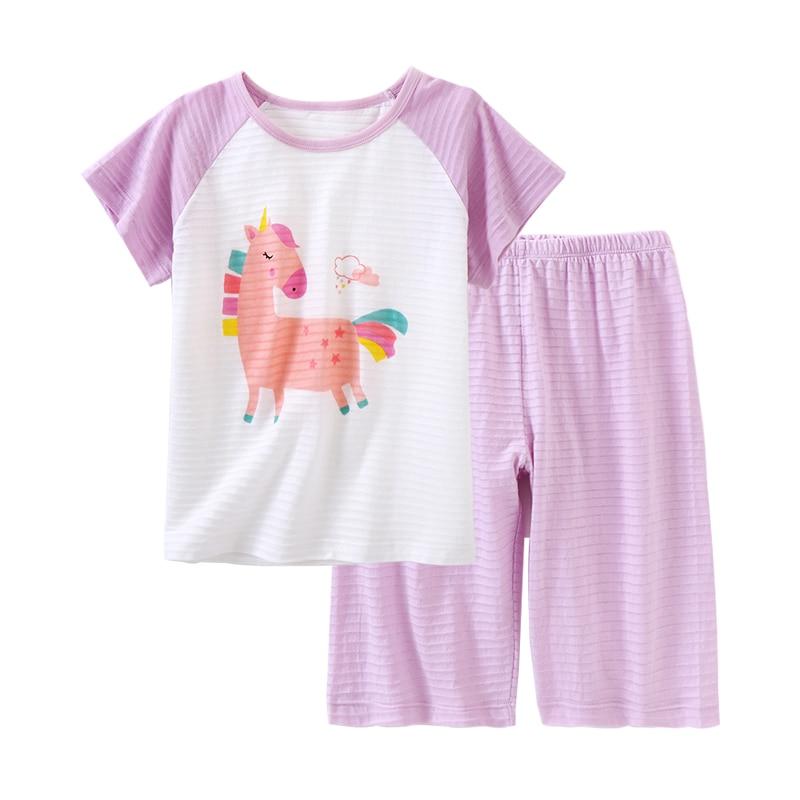 Детские пижамы, комплекты летней одежды для маленьких девочек, одежда для сна с мультяшным рисунком для мальчиков и девочек, комплекты из 2 п...