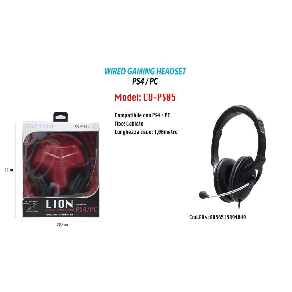 Auriculares con micrófono para juegos, CABLE León con CABLE COMPATIBLE con PS4/ordenador MAXTECH CU-PS05