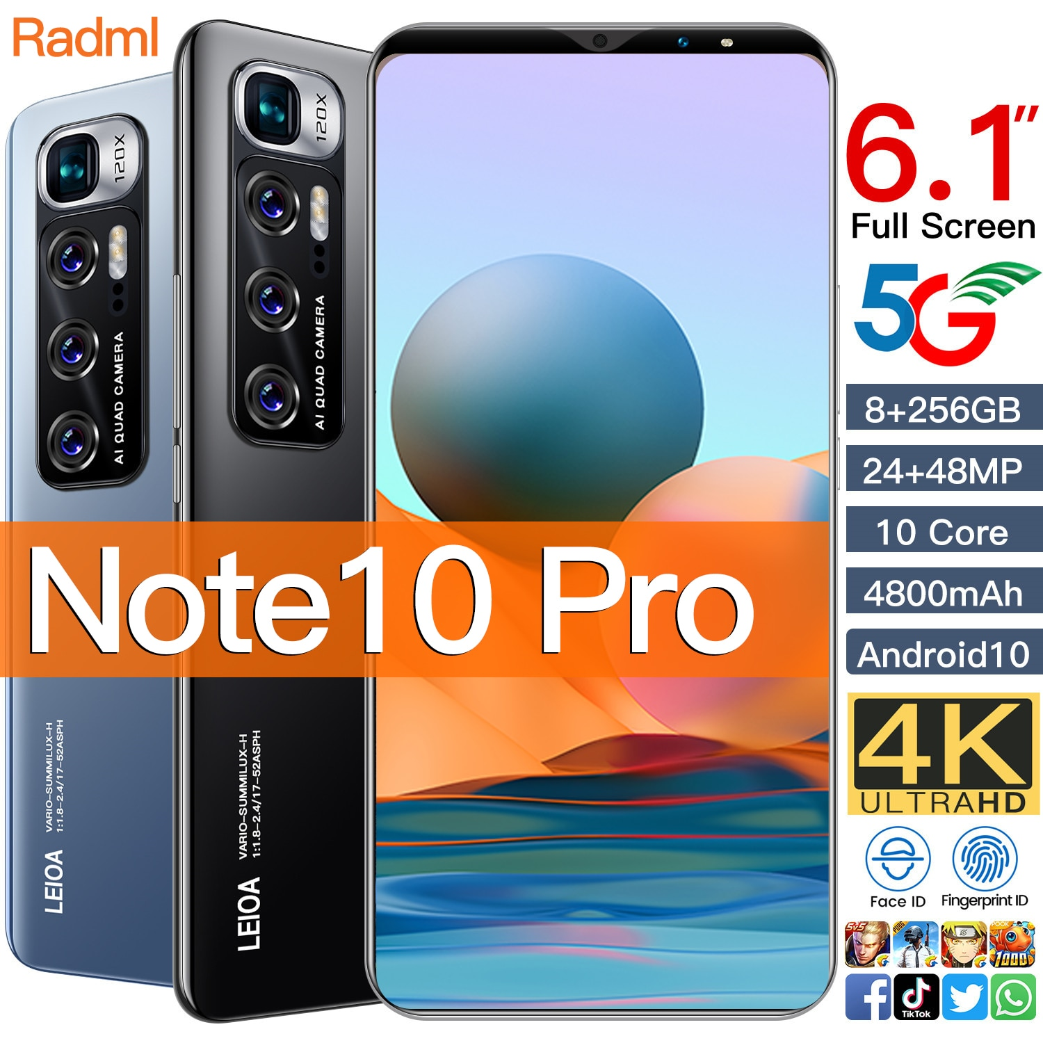 """Radml Note 10 Pro Smart phone 6GB 128GB Smartphone 6.1"""" MTK 6763 10 core 4g network Mobile Phones Android 10.0 4800mAh CellPhone"""