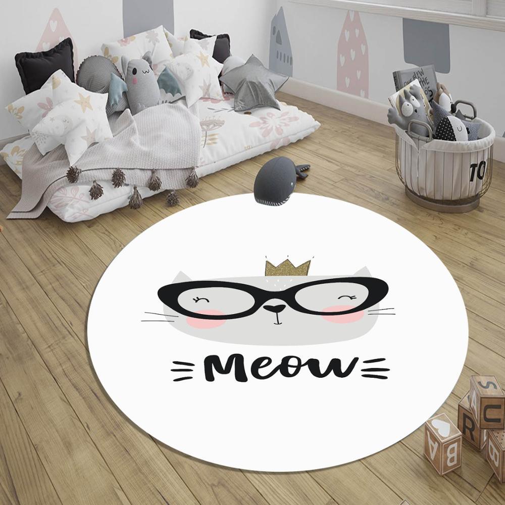 Серый, черный, белый, милый кот, 3d узор, принт, нескользящая спинка, круглые ковры, ковер для детей, детская комната