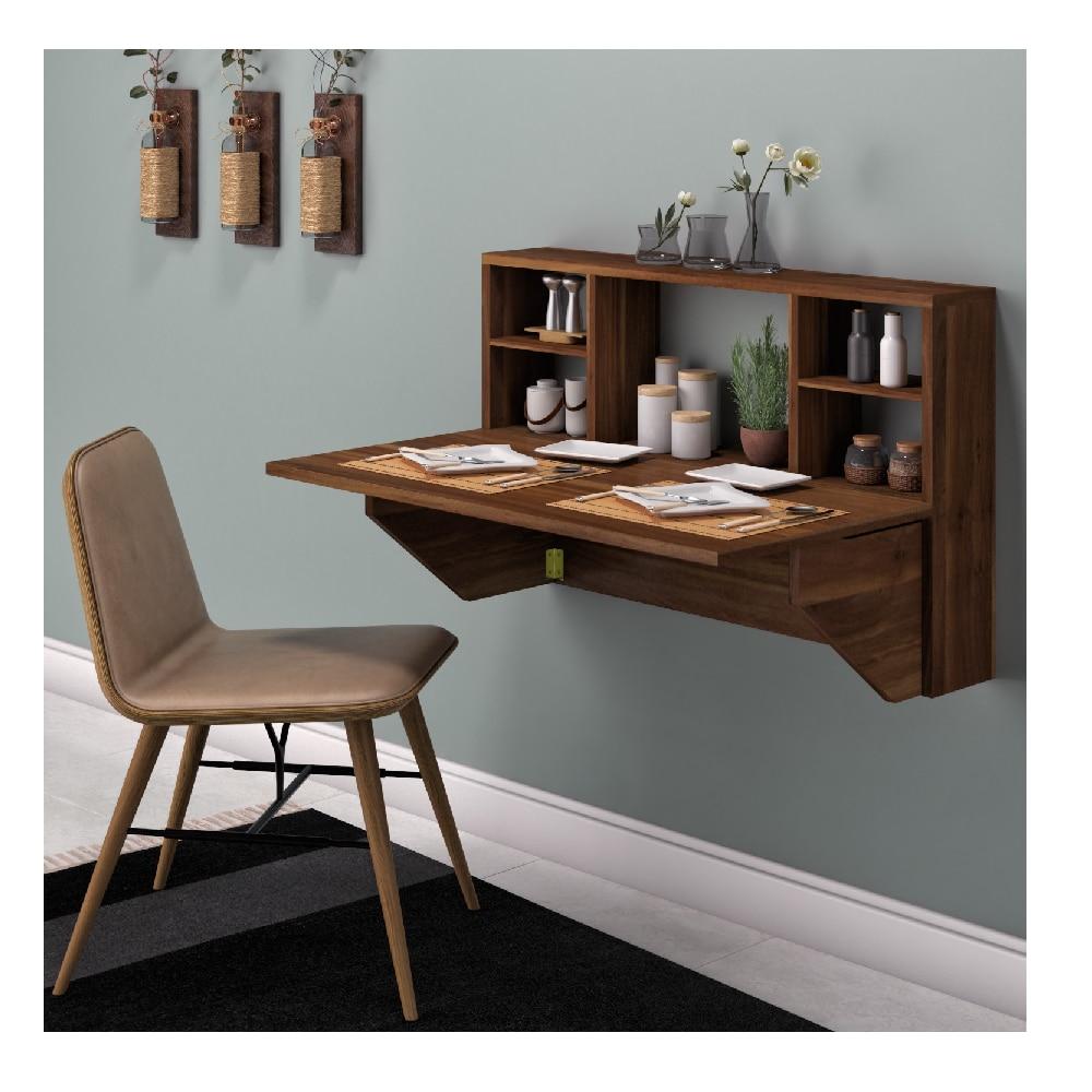 عملي قابل للطي المحمولة الجرف اندلاع الجدول الحائط العمل طاولة طعام مقاعد البدلاء تحتل أقل الفضاء الرف المنظم