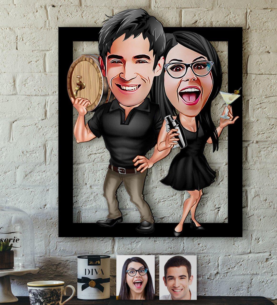 شخصية الحب الكاريكاتير من 3D الخشب Tablo-18 كبيرة برئاسة متعة تذكارية مكتب الجدول جدار الصورة ذكريات جميلة أنيق