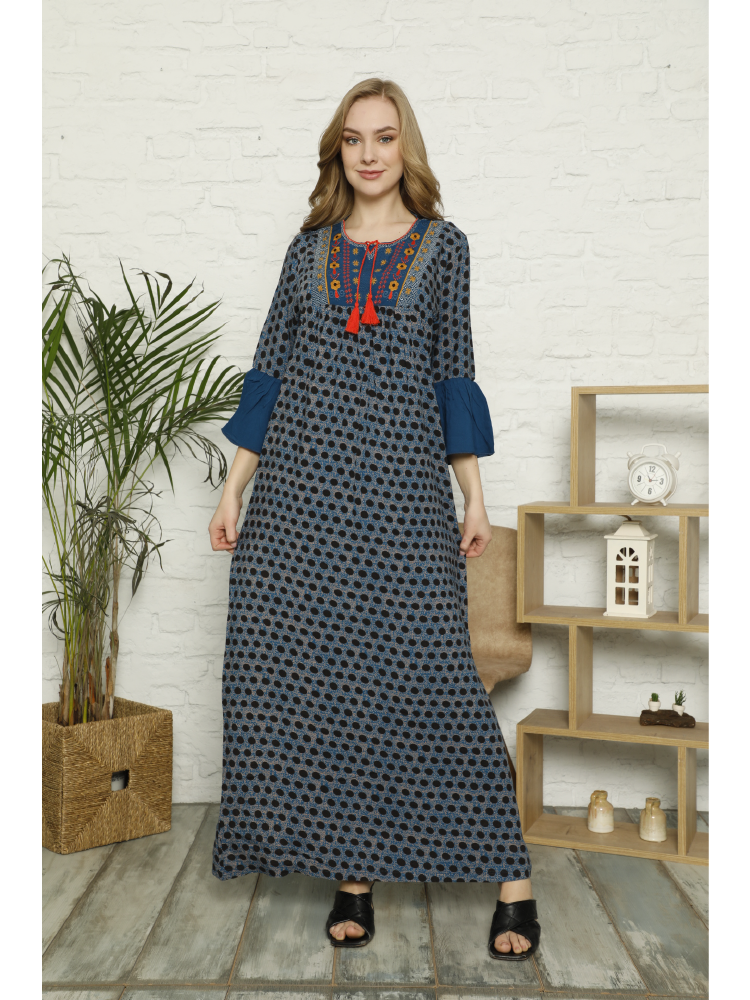 Laila Women New Season 2021 Spring Summer Embroidery and Tassel Detail Drop Neck Three Quarter Sleeve Polka Dot Long Woven Dress drop shoulder flower embroidery tassel tie dress