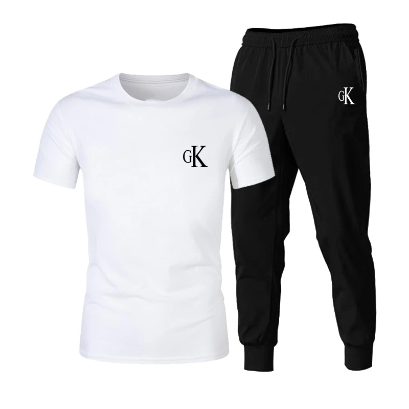 2021 new T-shirt 2-piece sportswear printing men's short-sleeved + pants pullover sportswear suit casual sports men's suit free