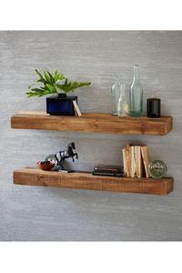 Bathroom natural wood Accessories 50cm Modern walnut and pine wall Corner Shelves Kitchen Wall Shelf Shower Shampoo Storage Rack