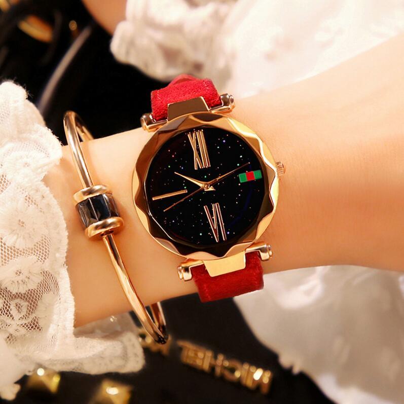 New Women Watch Pattern Fashion Quartz Watches Casual Cartoon Leather Clock Girls Kids Wristwatch Re