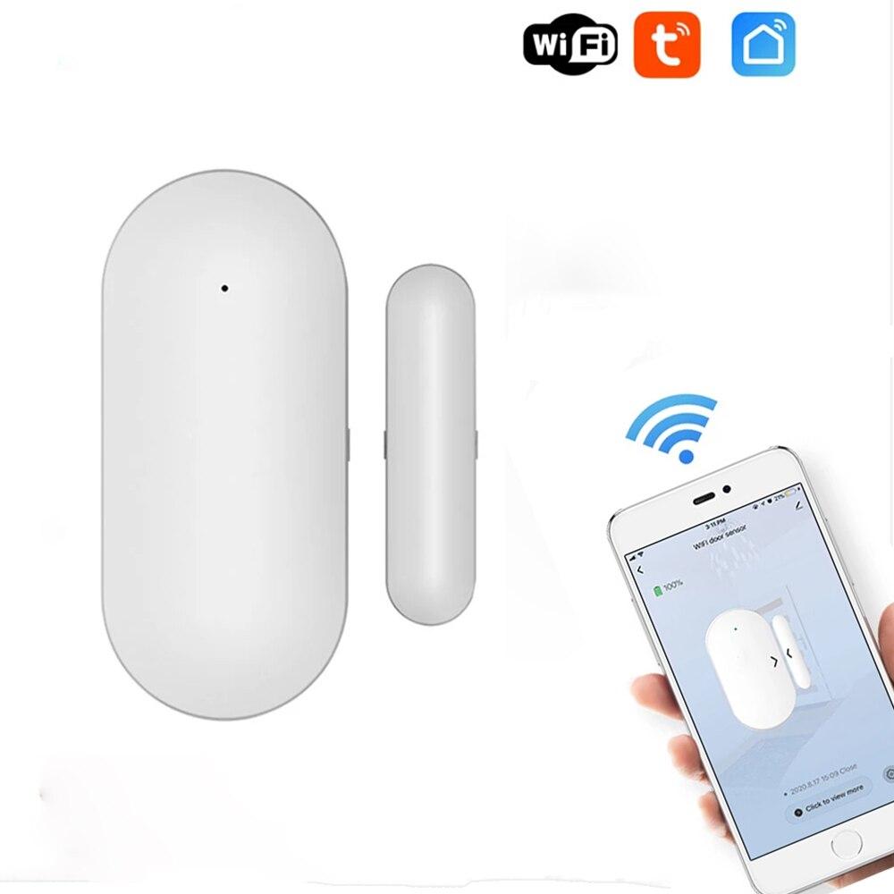 Датчик окон и дверей Tuya с Wi-Fi, магнитный выключатель, детектор открытия, сигнализация безопасности, защита умного дома