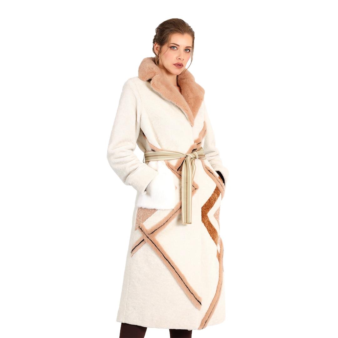 متجر MODAQUEEN معطف للسيدات مصنوع من فرو المينك ولحم الضأن بتصميم مخطط ومخصص لعام 2014-شحن مجاني ملابس فخمة