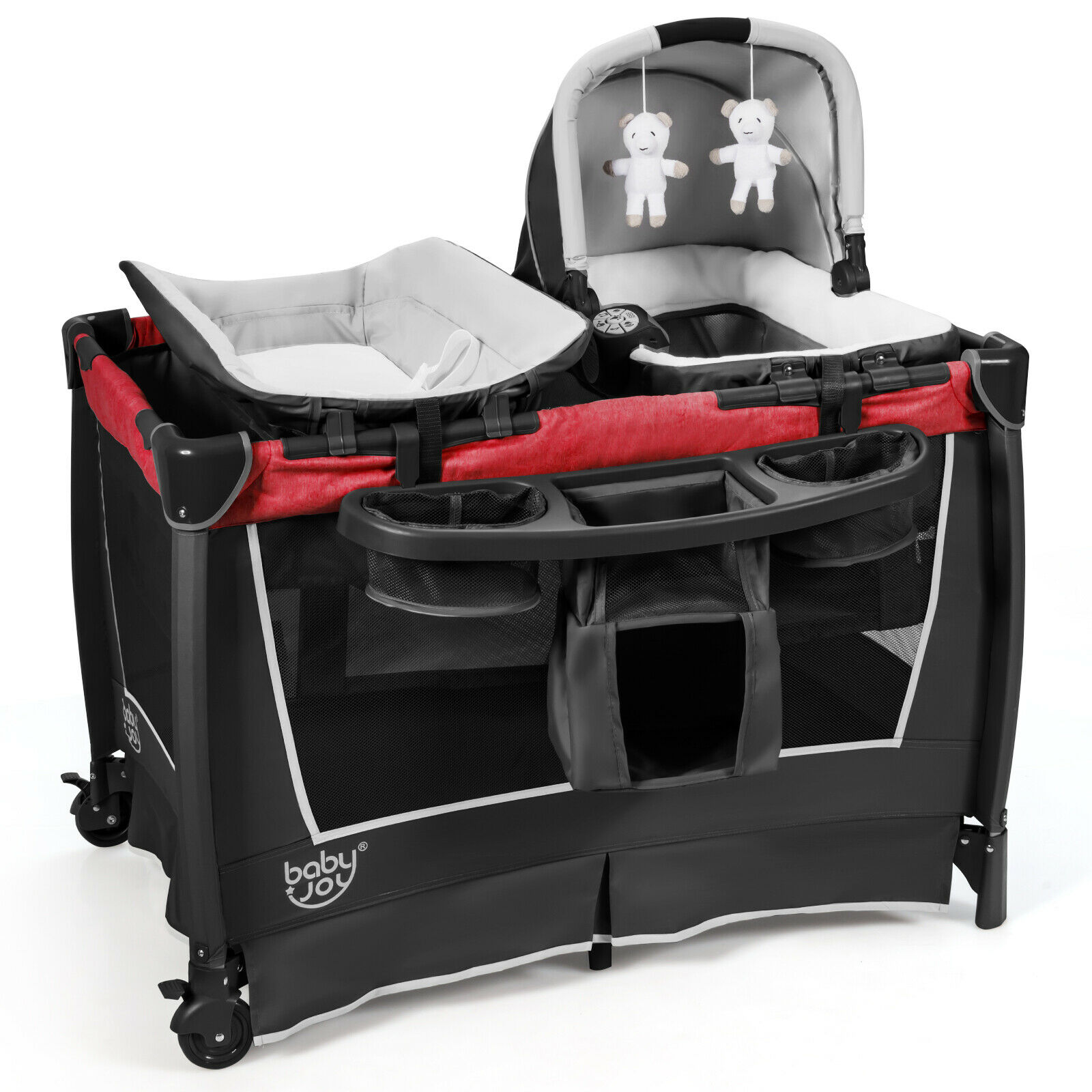 4-in-1 Convertible Portable Baby Playard Newborn Napper w/ Toys & Music