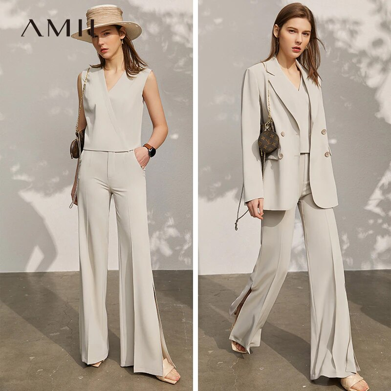 Amii Minimalism Spring New Women's Suit Set Offical Lady Vneck Tanks Solid Lapel Blazer Women High Waist Female Pants  12140138