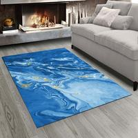 Else Blue Abstract Marble Stones 3d Print Non Slip Microfiber Living Room Modern Carpet Washable Area Rug Mat