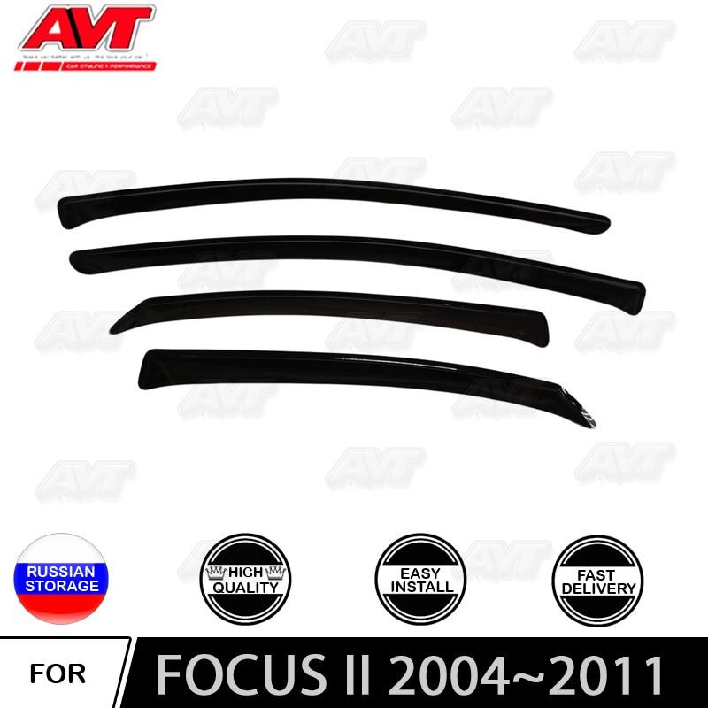 Window deflectors for Ford Focus II 2004~2011 car styling wind deflector guard auto vent visor rain guards cover decor