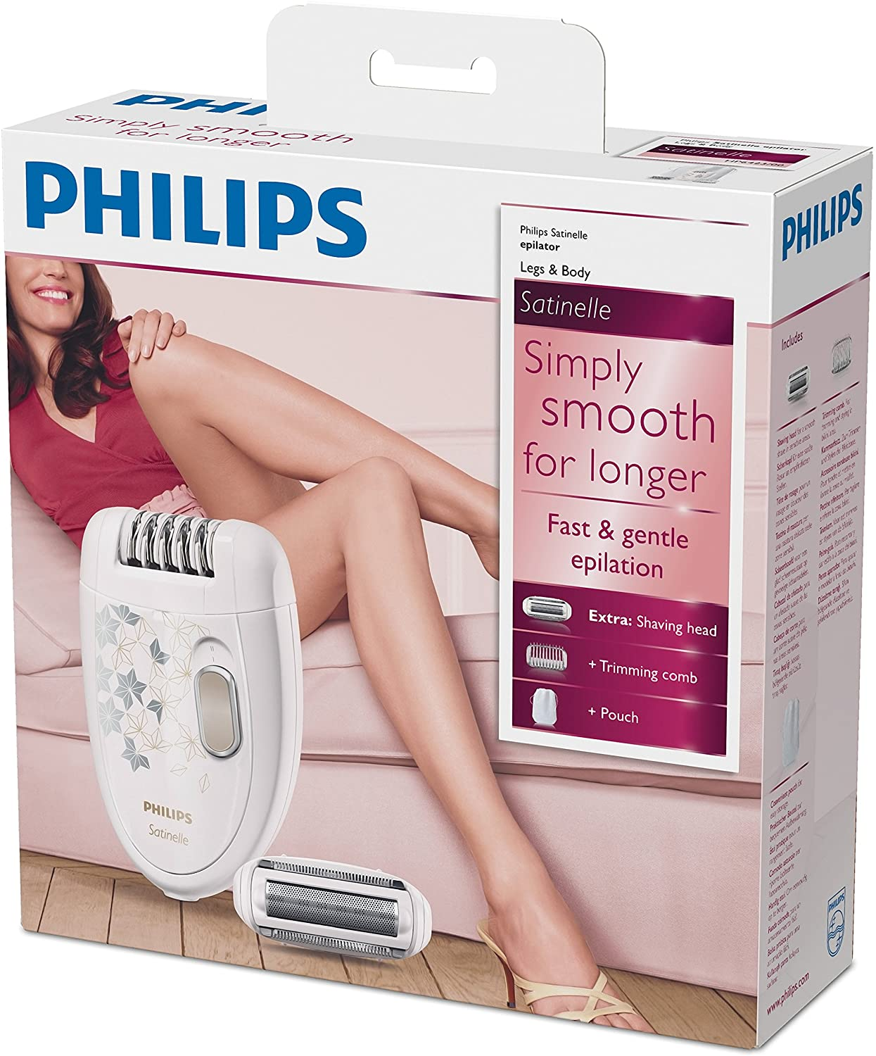 Philips Hp6423 / 00 - Satinelle Series Epilator With Shaving Head And Trimmer Comb Attachment, White enlarge