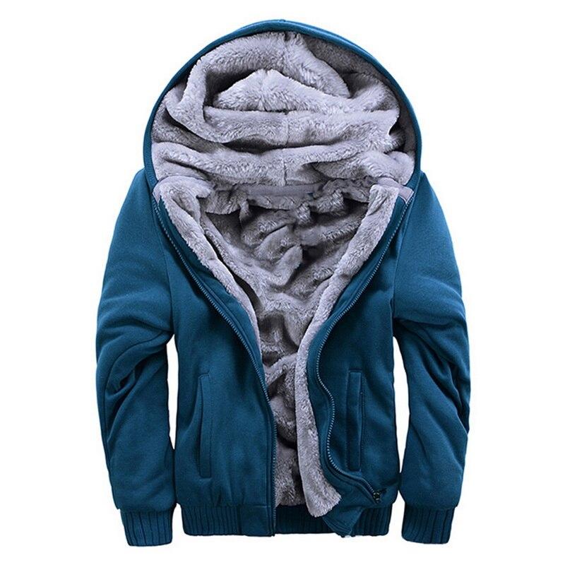 Мужская зимняя утепленная толстовка, однотонная флисовая куртка на молнии с капюшоном и длинными рукавами, толстое пальто, Мужская одежда, ...