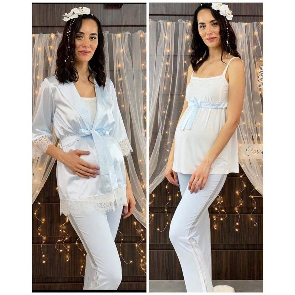 BLUE SATIN MORNING PACKER PAJAMAS SUIT 3 PIECES SUITABLE FOR BREASTFEEDING TOP CLOTHING