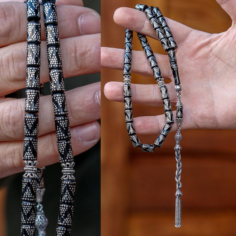 Cut Model Silver Inlaid Erzurum Oltu Stone Rosary Fashion Turkish Premium Quality Handmade Jawelery
