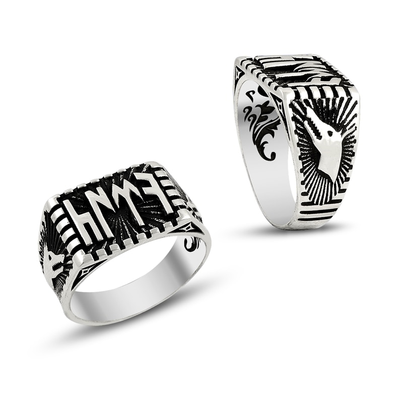 925 Silver Gokturk Alphabet Printed Khan Rings for Men