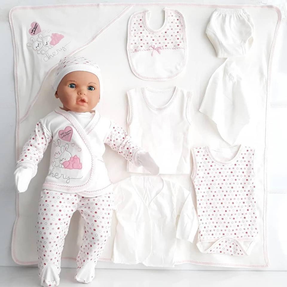 Chery corazón Rosa conejo Polka Dot 11 pieza recién nacido Hospital de salida de 0-3 meses