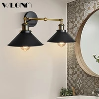 wlgnm wall light e27 iron wall lamps for living room bathroom modern style double head cap sconce indoor decortion led lighting