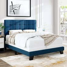 Full/Queen Size Panel Bed Frame with Adjustable High Headboard Fabric Upholstered Platform Bed Frame Mattress Foundation Blue