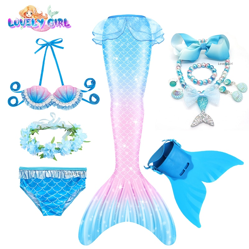 Mermaid Costume Dress with Fin for Girl Mermaid Tail Bikini Costume Cosplay Swimsuit Beach Party Dre