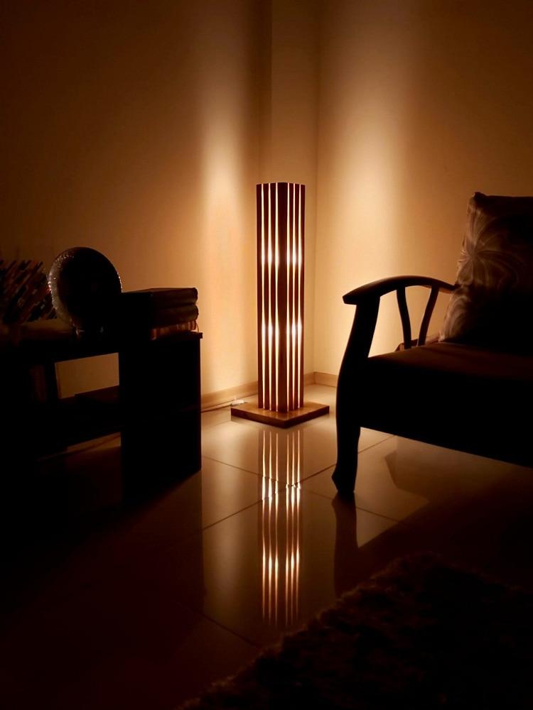 Hand Made Wooden epoxy resin floor lamp, naturel wood, Amber led lamp modern bedside light living room