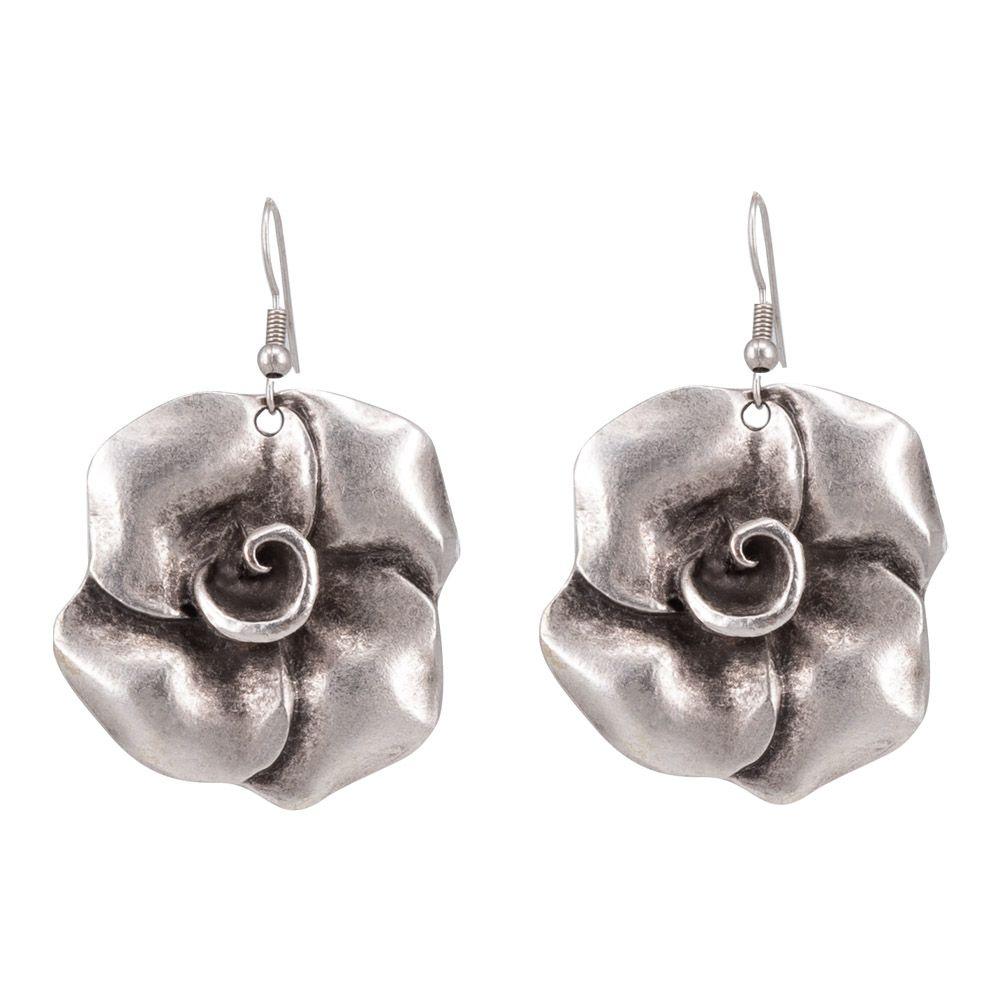 Pendientes de flor de joyería (gancho de bloqueo, aleación de joyería, Plata) 53223