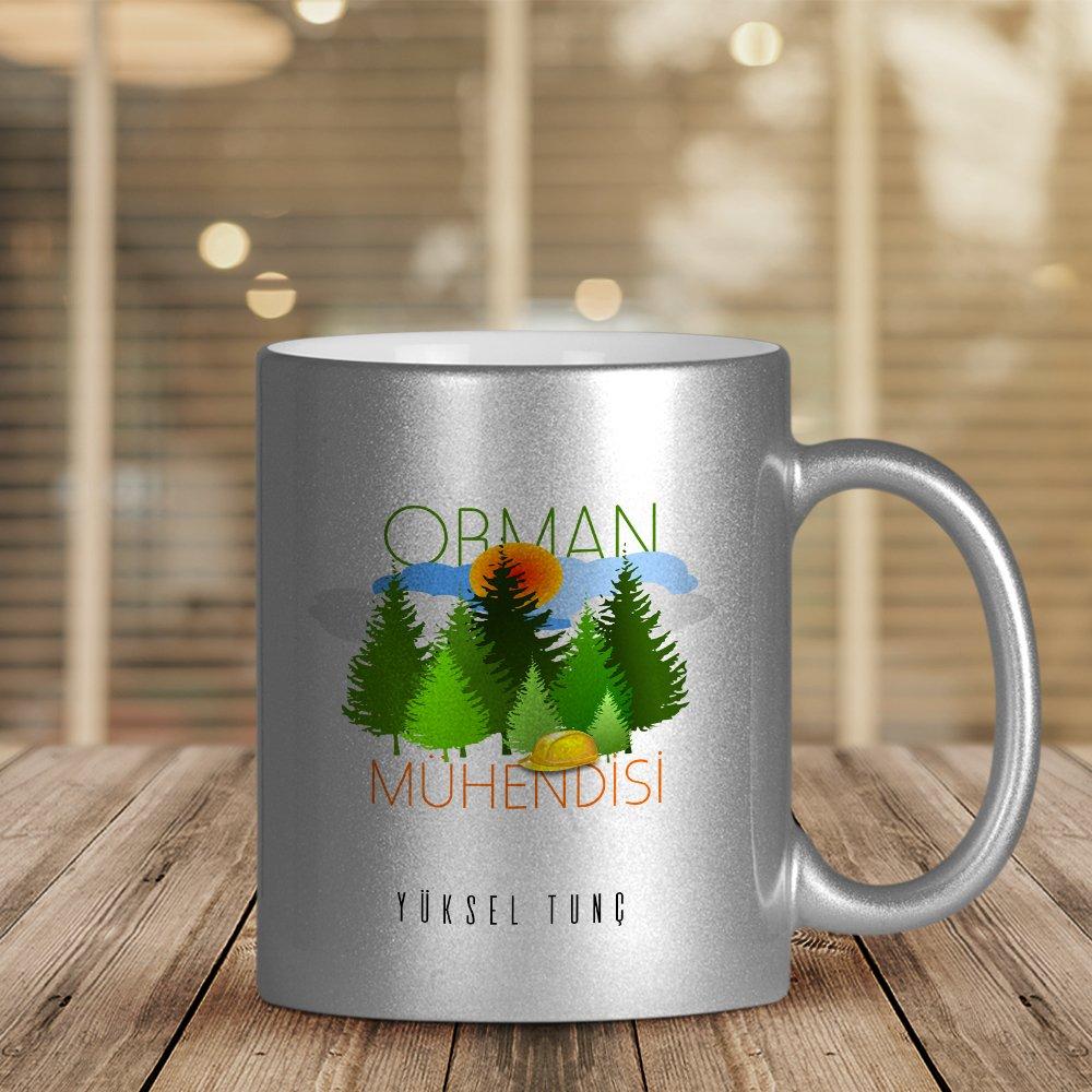 Personalizado profesional ingeniero forestal plata dorada tazón taza