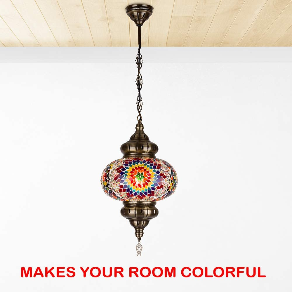 Turkish Moroccan Mosaic Tiffany Glass Stained Ceiling Hanging Light Lamp Lantern Boho Pendant Chandelier for Bedroom Decor - 10 enlarge