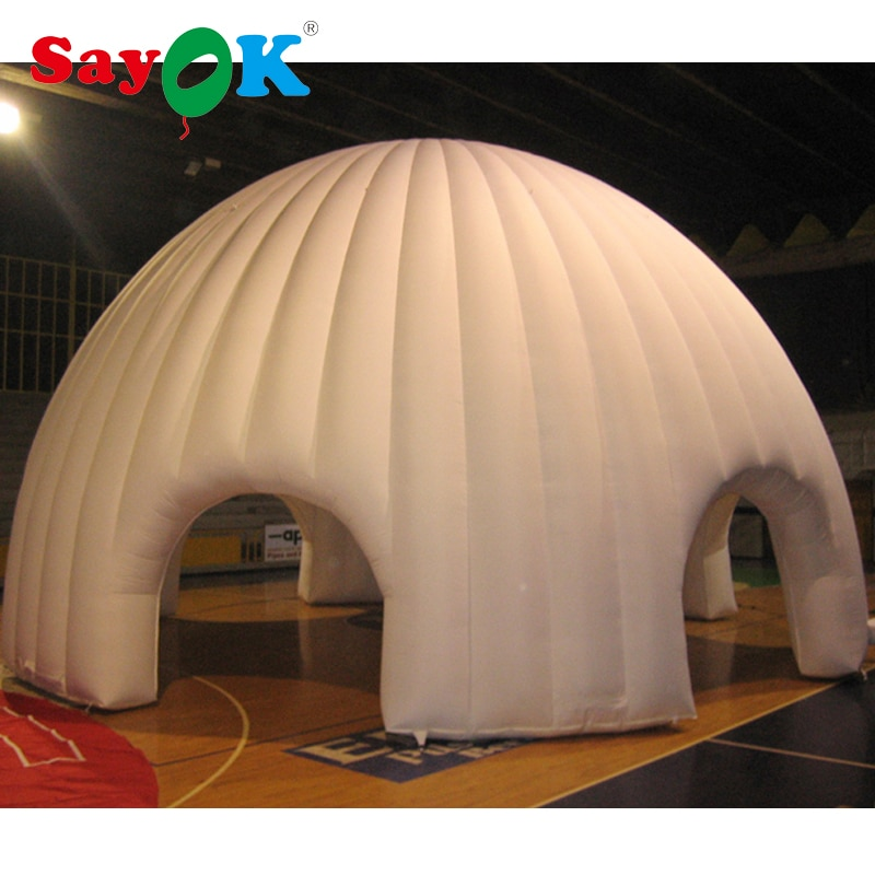 Carpa de cúpula inflable blanca portátil Sayok con soplador tienda inflable de iglú para Feria Comercial, exposición