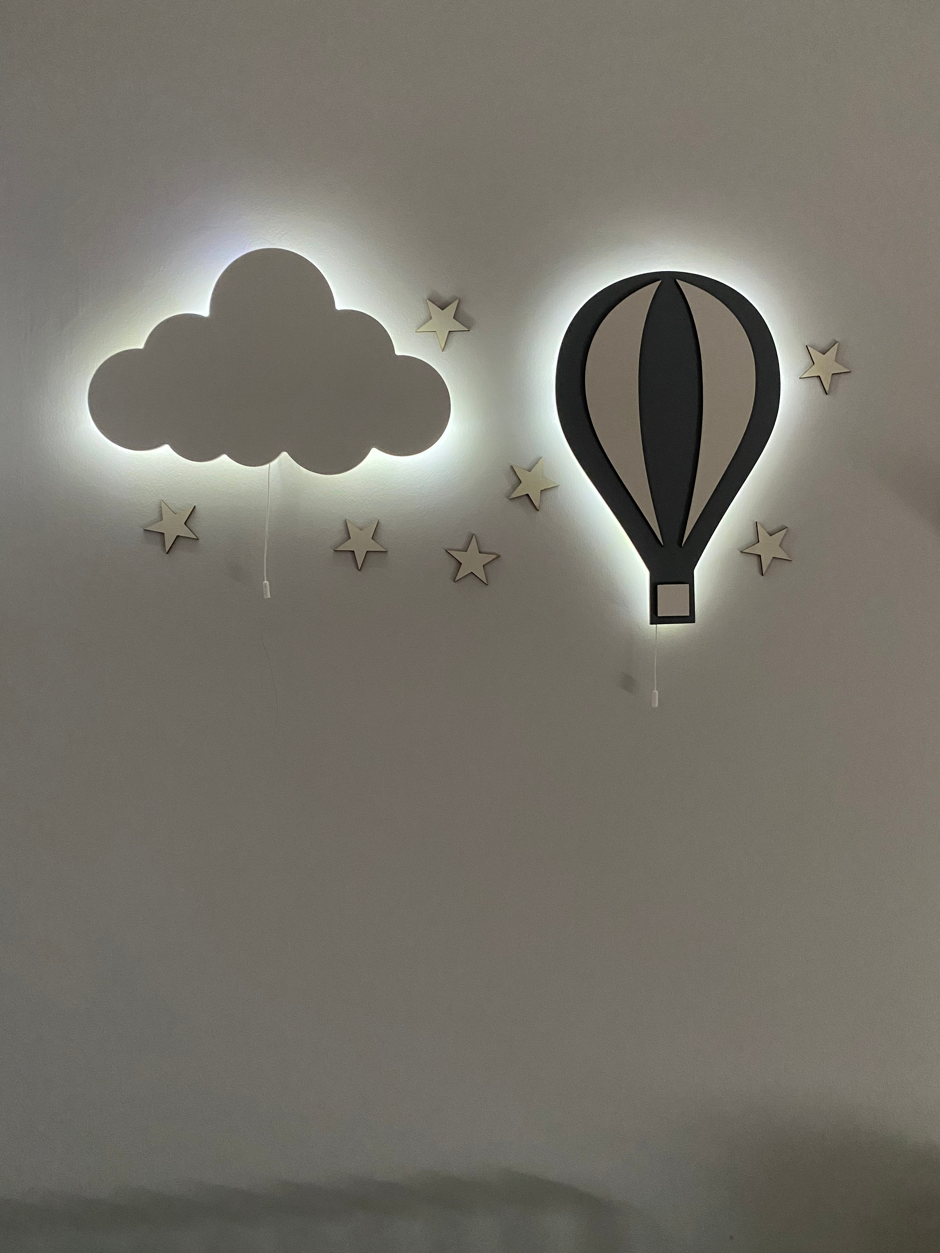 Set of 2- Nursery Cloud and Balloon Lamp, Cloud Lamp, Air Balloon Light, Wooden Led Light, Baby Night Lamp, My Childs Room Decor enlarge