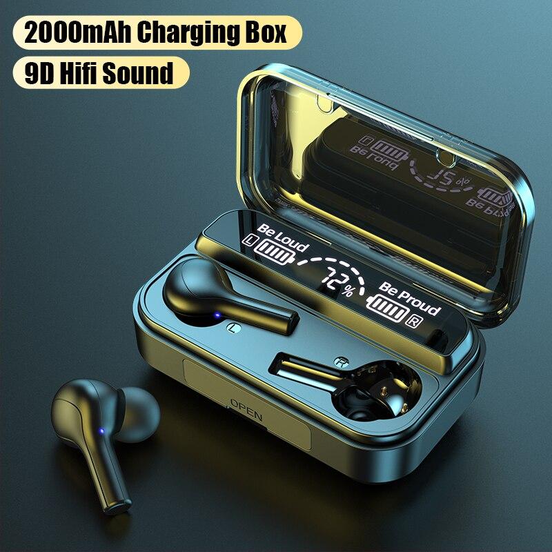 Ubeamer, auricular inalámbrico Bluetooth V5.0, auriculares de Control táctil, estéreo de gimnasio, HD, que habla, de naftalina, con micrófono, Batería Externa de 2000mAh