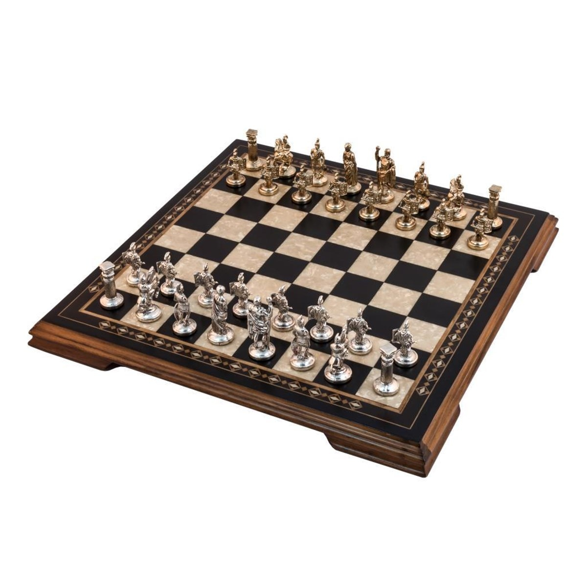 Luxury Black Chess Game Set - Mosaic Engraved Large Solid Wood Chessboard & Metal Figures Checkers - Backgammon - Rummy Gift