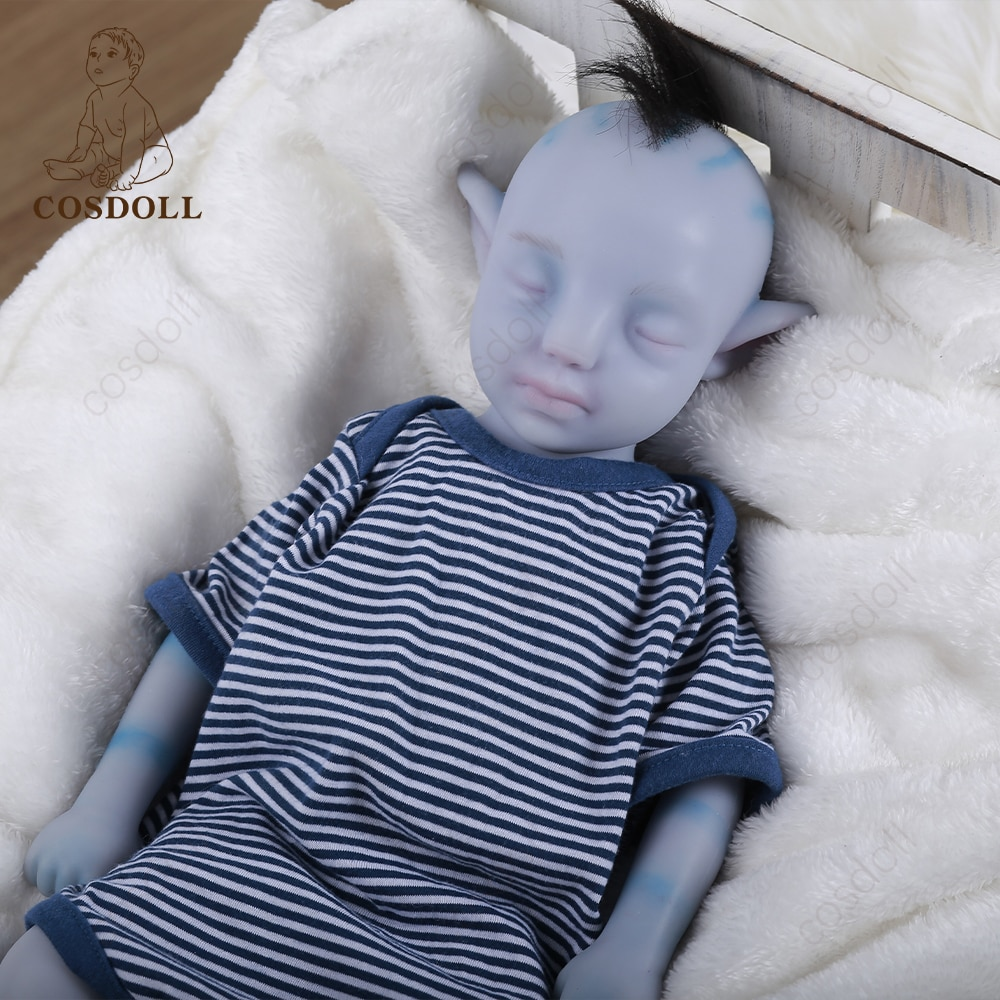 をベビーリボーン46センチメートル100-全身シリコーン洗える早期教育ブルーベビーおもちゃ子供おもちゃ人形ベベリボーン人形-00