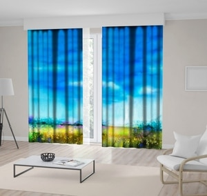 Curtain Wildflowers Meadow in the Spring Summer Nature Landscape Watercolor Art Yellow Blue Green