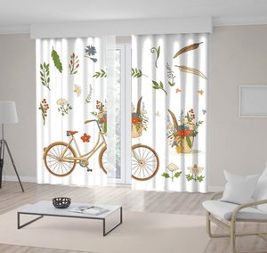 Curtain Yellow Bike Feather Branches Green Leaves and Basket with Colorful Flowers Drawing Retro Style Artwork Printed