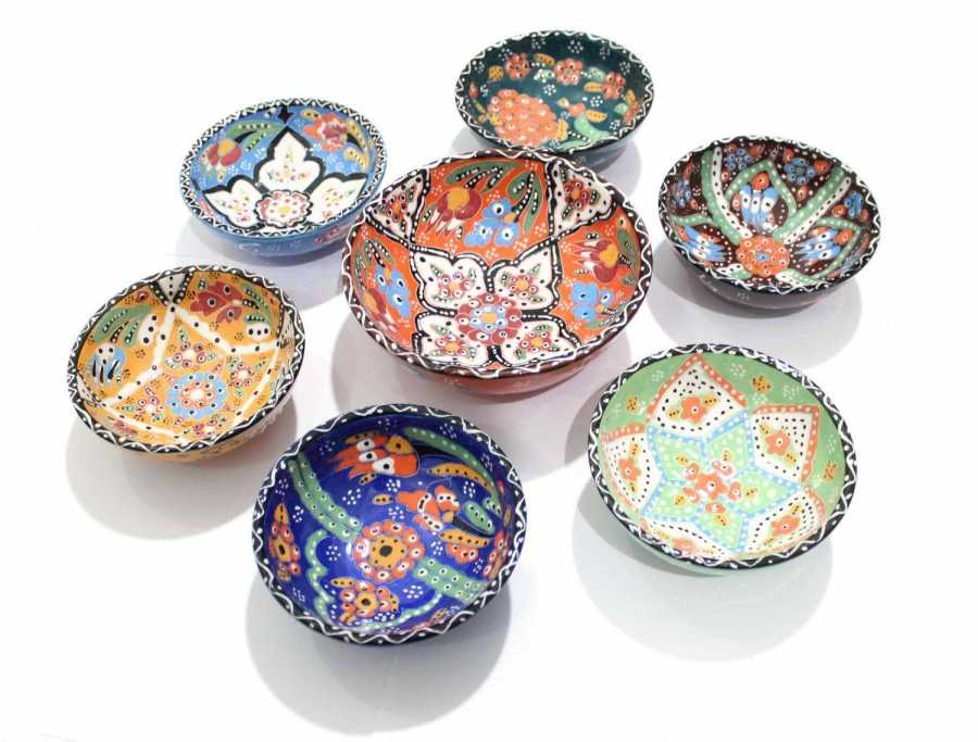 6 + 1 Kütahya Authentic Mixed Color Ceramic Pottery Bowl Set decor for nuts turkish traditional anatolian handmade pottery natur