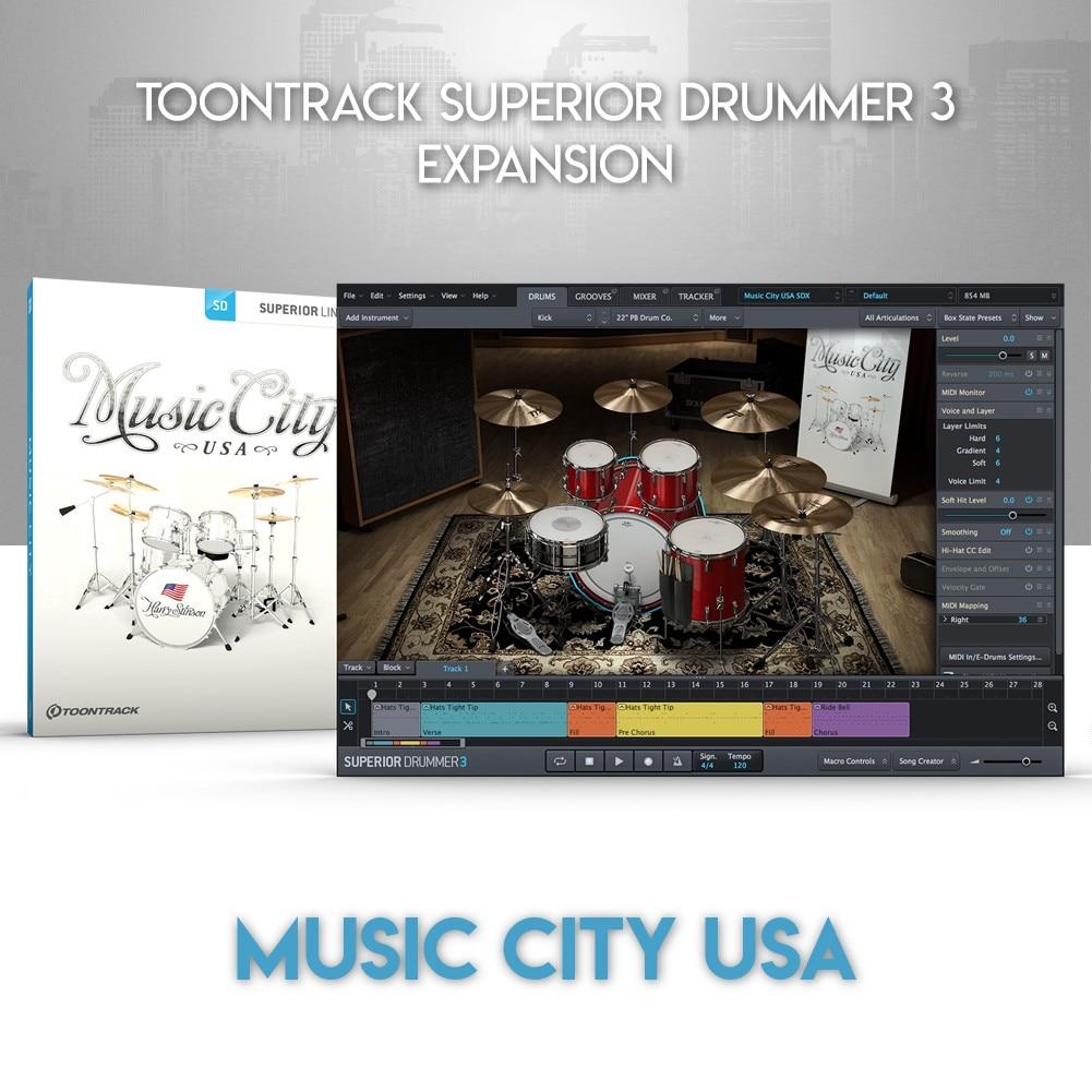 MUSIC CITY USA - TOONTRACK SUPERIOR DRUMMER 3 EXPANSION (WINDOWS 64BIT VSTi)