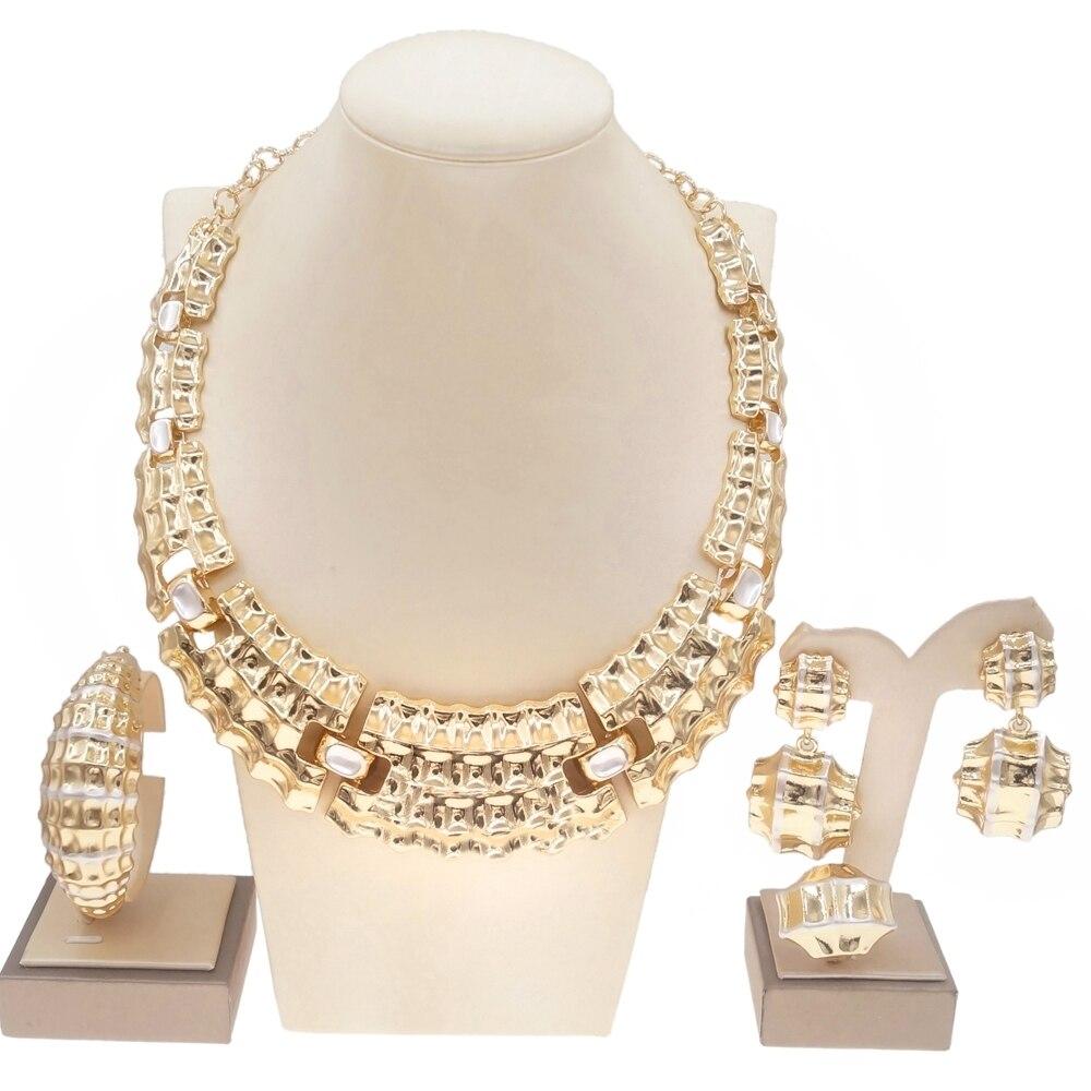 Yulaili بالجملة موضة الذهب الروماني نمط طقم مجوهرات مطلية بالذهب للنساء تصميم حفلة عيد ميلاد اجتماع مجموعات مجوهرات جديدة