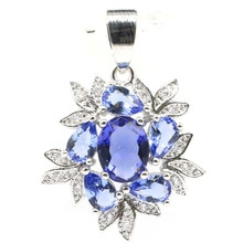 31x22mm belle créé nouvelle pierre Iolite blanc CZ cadeau pour dames pendentif en argent