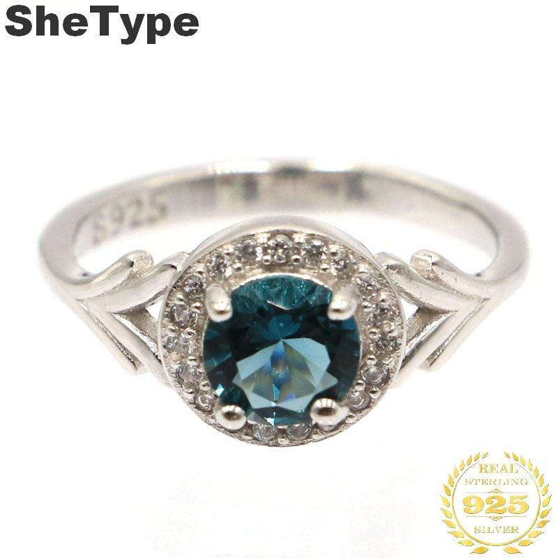 9x9mm 1.9g Luxury SheType Dark London Blue Topaz White CZ Wedding Woman's 925 Solid Sterling Silver Rings