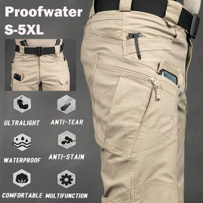 Брюки-карго мужские с несколькими карманами, уличные размера плюс штаны в стиле милитари, армейские водонепроницаемые быстросохнущие элас...