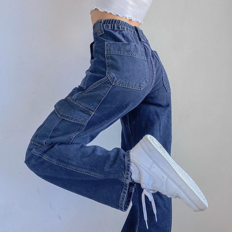 Patchwork Big Pockets Baggy Jeans Women Vintage Streetwear High Waist Y2K 90s Wide Leg Cargo Pants Harajuku Korean Denim Jeans