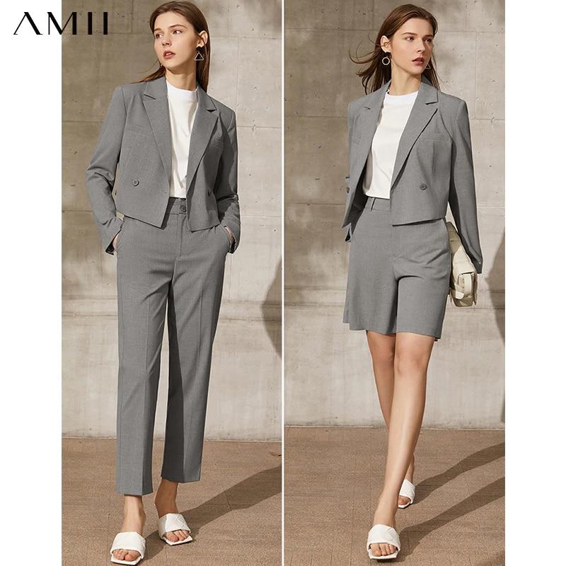 Amii Minimalism Spring New Women's Suit Fashion Solid Lapel Suit Coat Women Loose Shorts Causal High Waist Female Pants 12130066