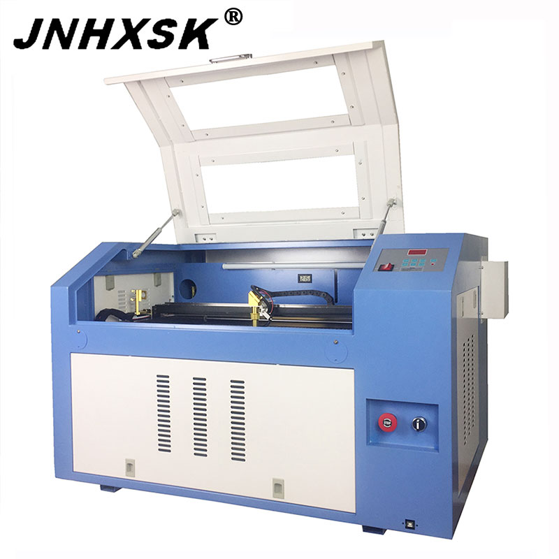 JNHXSK escritorio 60w máquina de grabado láser portátil 4060 6040 corellaser coreldraw sello de goma de vidrio CNC router