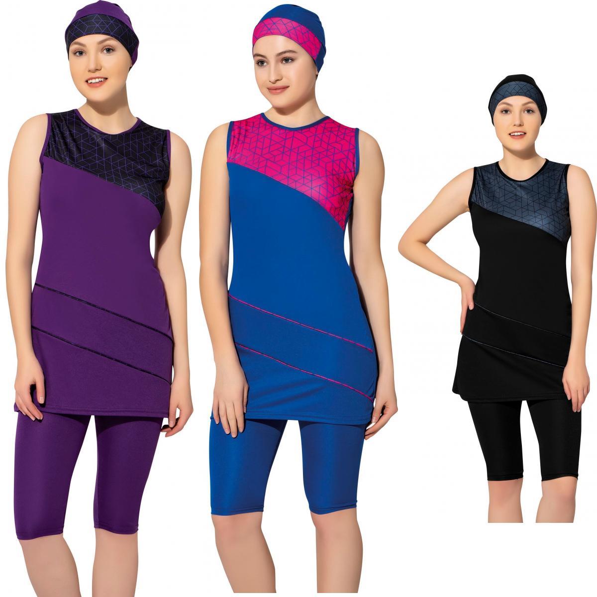 Argisa 7806 licou sans manches à motifs Semi maillot de bain voile 38-52 grande taille musulman Hijab islamique maillot de bain Burkini turquie couverture de bain