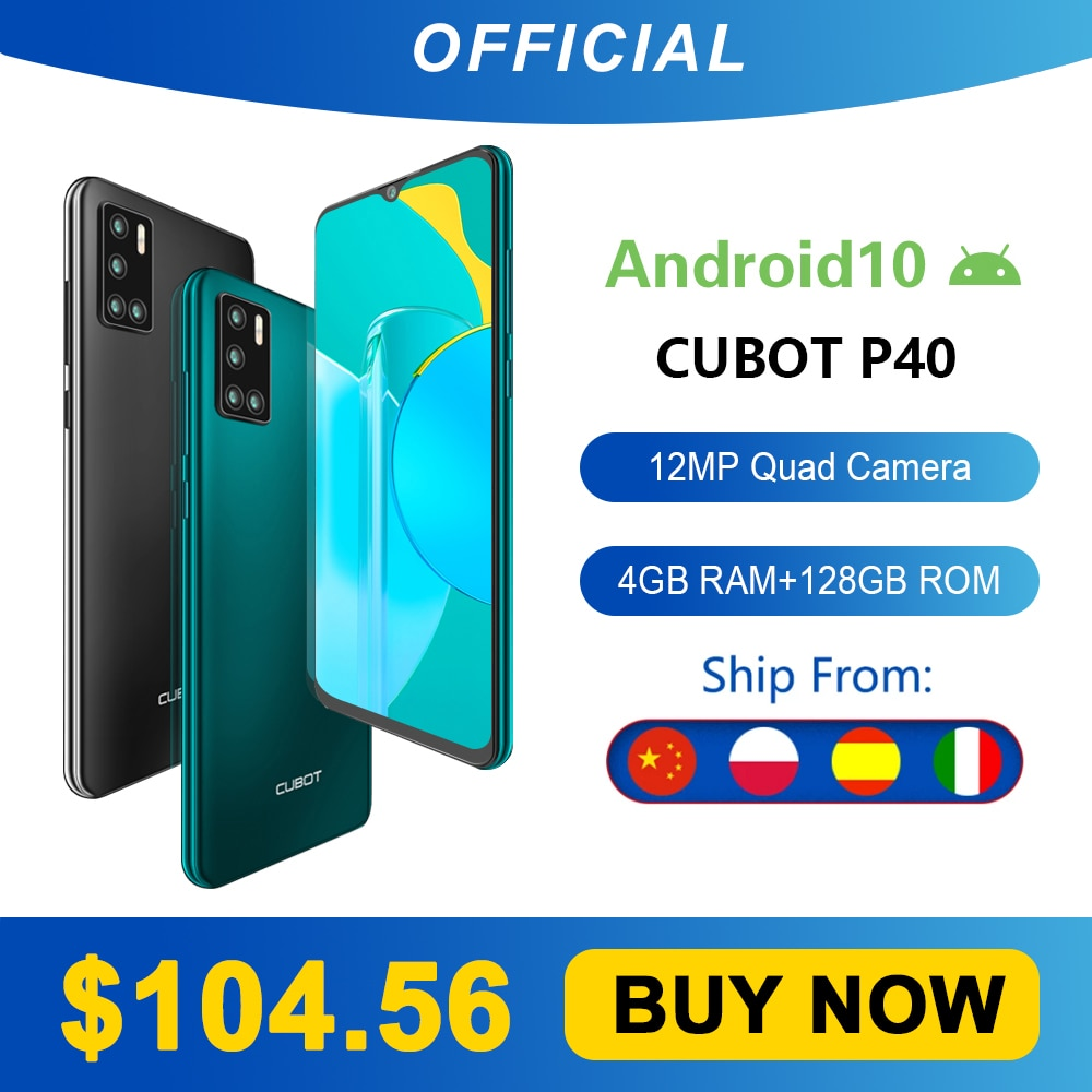 Cubot P40 Rear Quad Camera 20MP Selfie Smartphone NFC 4GB+128GB 6.2 Inch 4200mAh Android 10 Dual SIM