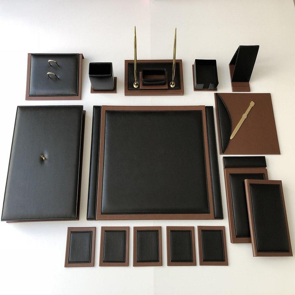Luxury Black  / Tan Color Business Office Desk Leather Mat Set Organizer Accessories (Office Supplies, Office Desktop Set, )