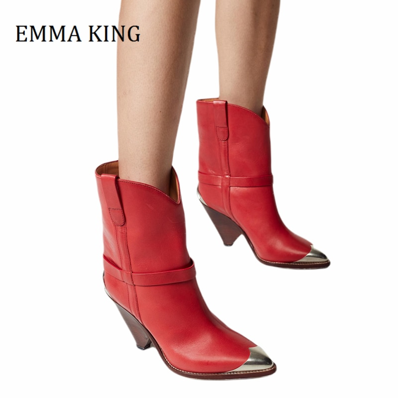 2020 Autumn Winter Women Short Ankle Boots Faux Leather Pointed Toe Spike High Heels Shoes Designer Fashion Party Boots Mujer